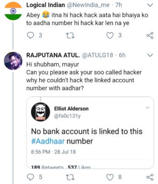 RS Sharma's Aadhaar hacked