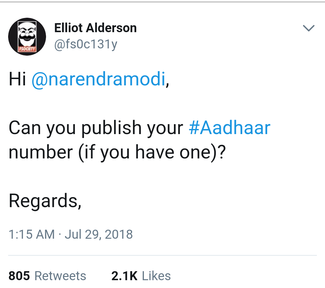 French Hacker Tweeted PM Narendra Modi If He could Publish his Aadhaar Number