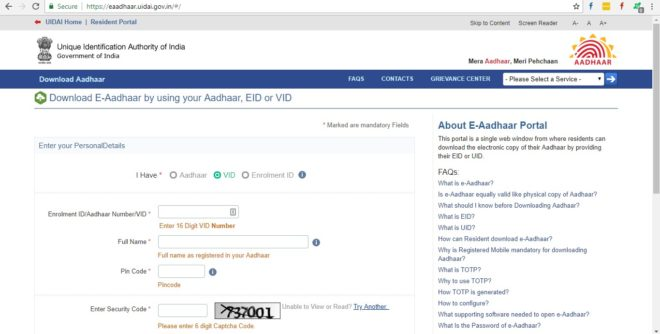UIDAI: How to Download and Print Aadhar Card Online [Step by Step] - TECHADVISES