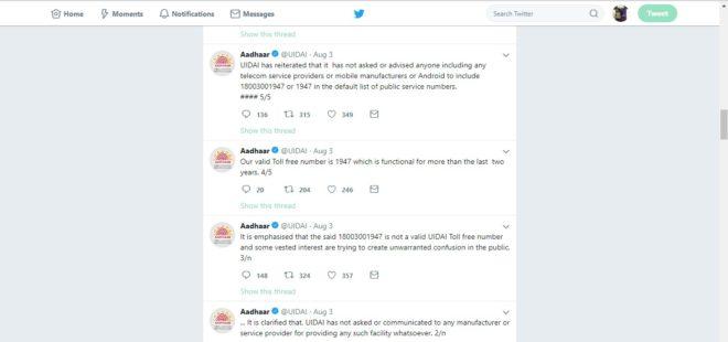 UIDAI Aadhaar Tweets